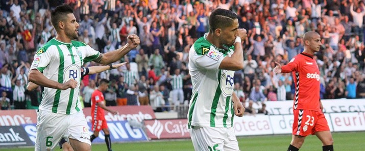 Fidel celebra el primer gol andalús. L'altre el va fer Florin Andone. Córdoba 2 - Nàstic 0. Fotio: Cordobadeporte.com