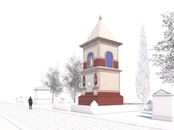 Proposta de restitució de l'alçat frontal de la Torres dels Escipions (Autors: Grup de recerca Seminari de Topografia Antiga)