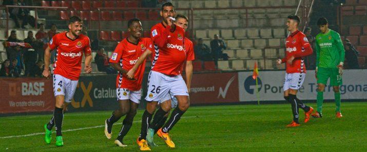 Fali celebra el seu primer gol amb el Nàstic i el que era el 2 a 0. Foto:Nàstic
