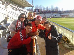 L'afició del Nàstic va donar suport a l'equip des de les grades del Belmonte amb el president Josep Maria Andreu. Foto:Rafael Sierra