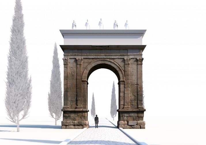 Restitució infogràfica de l'Arc de Berà (autors: Seminari de Topografia Antiga de la URV)