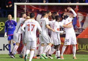 Marcos va celebrar el gol amb el gest del porró i un xerrac símbols de la Fusteria. Foto: La Liga
