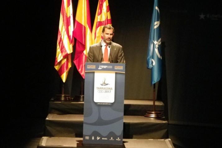 Felip VI a l'acte institucional al Teatre Tarragona de suport als Jocs Mediterranis, el març de 2015 (foto: Ajuntament de Tarragona)