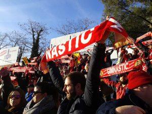 Més de 600 tarragonins van anar a Girona per veure l'1 a 1 dels grana. Foto:Rafael Sierra