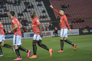Jose Naranjo celebra el gol de la victòria davant de l'Elx. 1 a 0 i tres punts. Foto:Nàstic