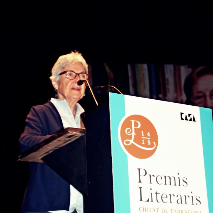 Muriel Casals intervé a la nit dels Premis Literaris Ciutat de Tarragona el passat mes de maig (foto: TERESA LEÓN)