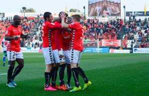 Jose Naranjo celebra l'empat a 1 definitiu davant la Ponferradina. Foto:Nàstic
