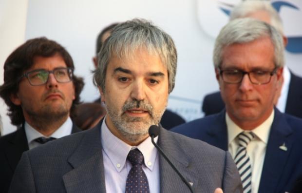 Quim Nin, en uma imatge d'arxiu en un acte vinculat a Tarragona 2017. Darrer, l'alcalde Josep Fèlix Ballesteros i el tinent alcalde, Javier Villamayor (foto: CEDIDA)