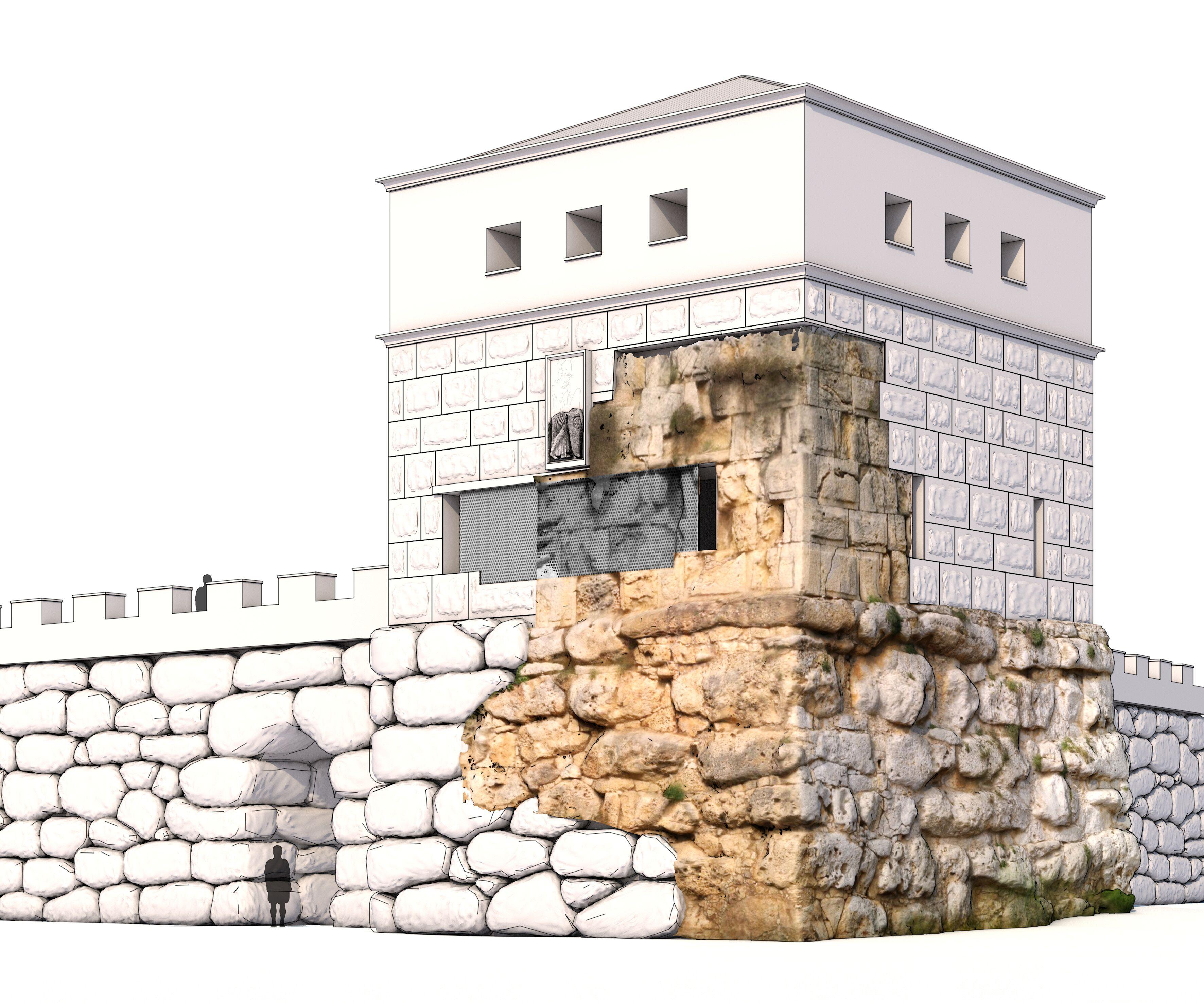 Restitució ortofotogràfica de la Torre de Minerva de la muralla romana per mostrar com era el seu aspecte original.