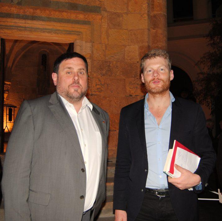 Oriol Junqueras i Christian Felber, aquest dimarts al Centre Tarraconense El Seminari. Foto: ALBERT OLLÉS