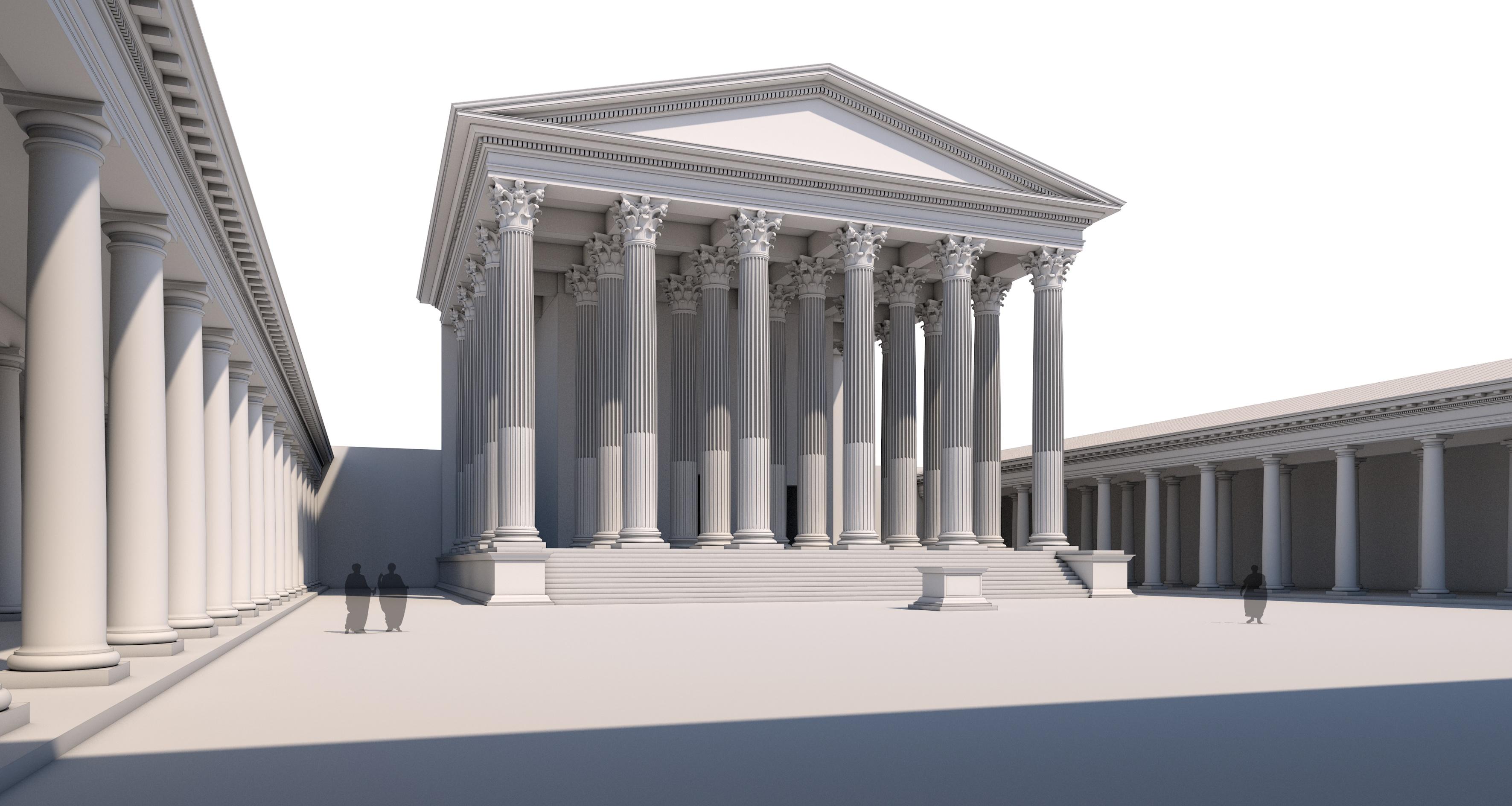 Reconstrucció virtual del gran temple capitolí del Fòrum de la Colònia reproduït al fascicle número 2 del col·leccionable.