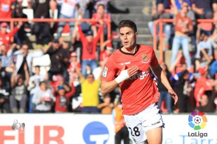 Naranjo amb els seus dos gols ha estat el protagonista de la victòria per 3 a 2 del Nàstic davant del Mirandés. Foto:LFP