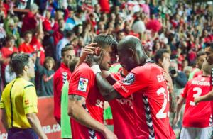 Xavi Molina i Emana celebren el gol grana Foto:Nàstic