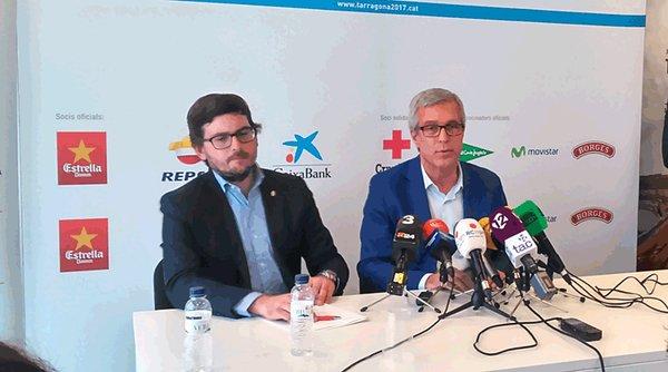 Javier Villamayor i Josep Fèlix Ballesteros a la compareixença davant dels mitjans de comunicació del passat dimecres a la seu de Tarragona 2017. Foto cedida