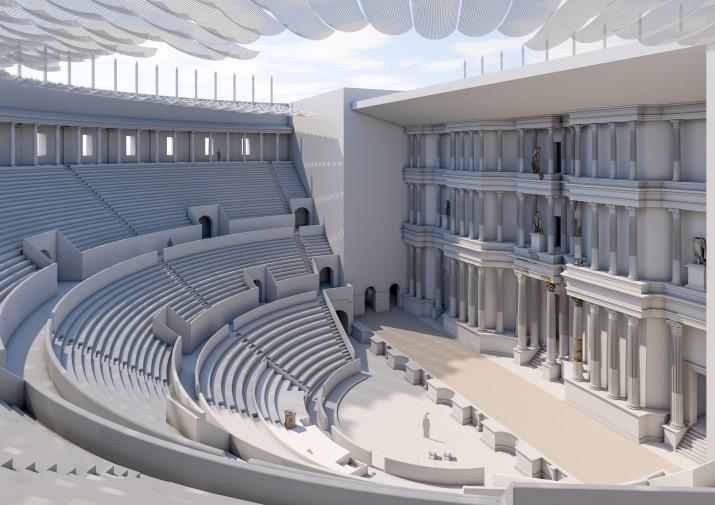 Una de les reconstruccions del teatre de Tàrraco que apareix al fascicle del FET. Autor: FERRAN GRIS