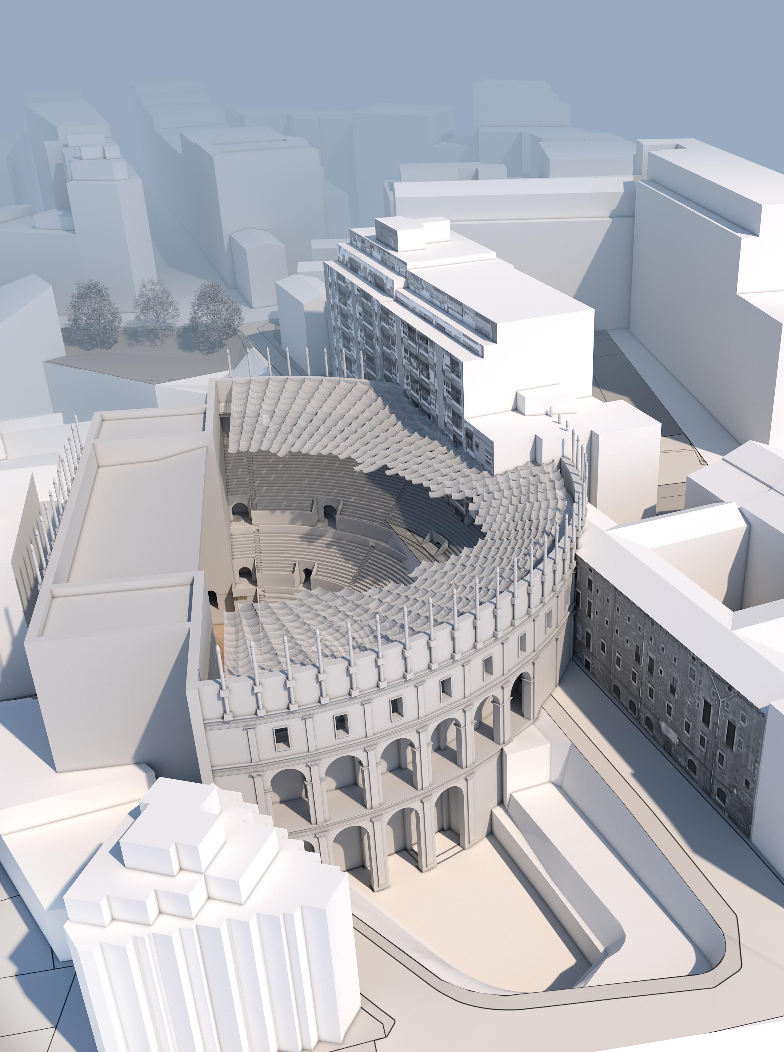 Recreació virtual en 3-D del Teatre Romà de Tàrraco a l'espai actual que ocuparia a la ciutat.