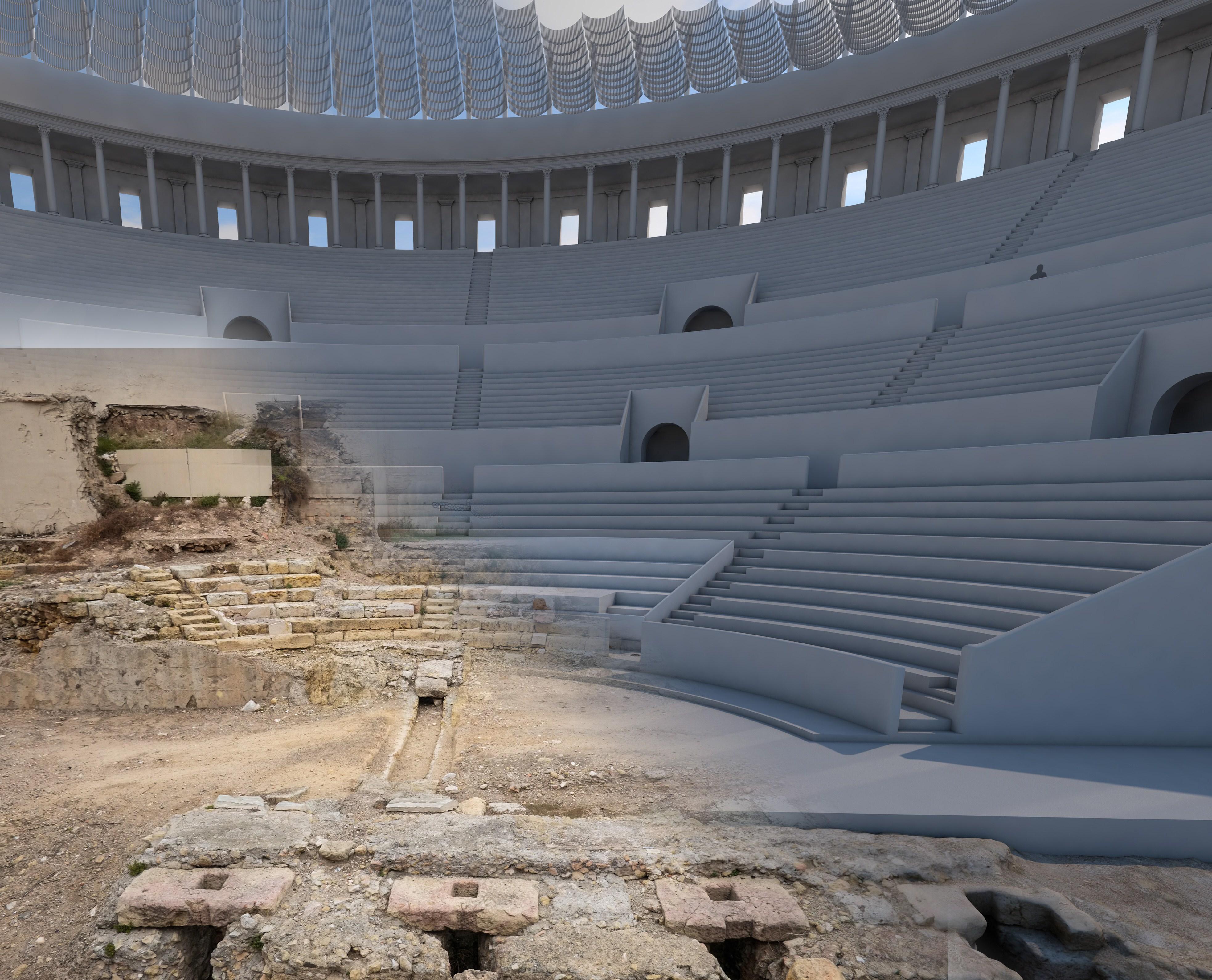 Reconstrucció de l'interior del teatre, amb fotografies de les runes actuals i imatges virtuals en 3-D de parts de la instal·lació original.