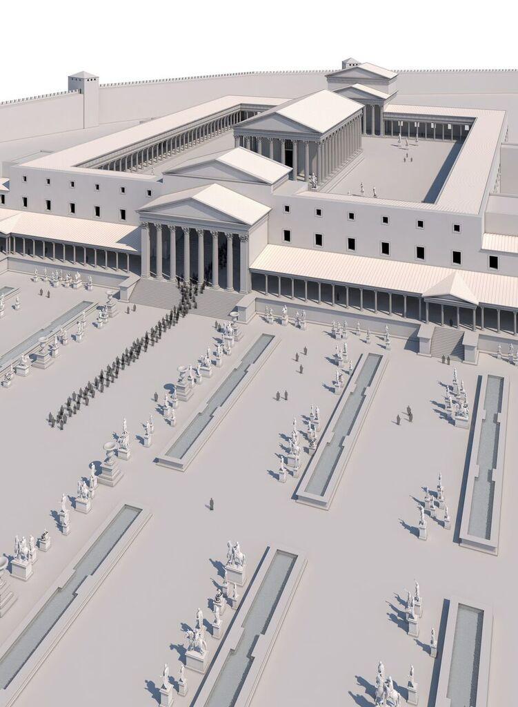 Restitució infogràfica en 3D del Temple d'August (al fons) i la plaça de representació del Fòrum de la Província, publicada al cinquè fascicle del col·leccionable.