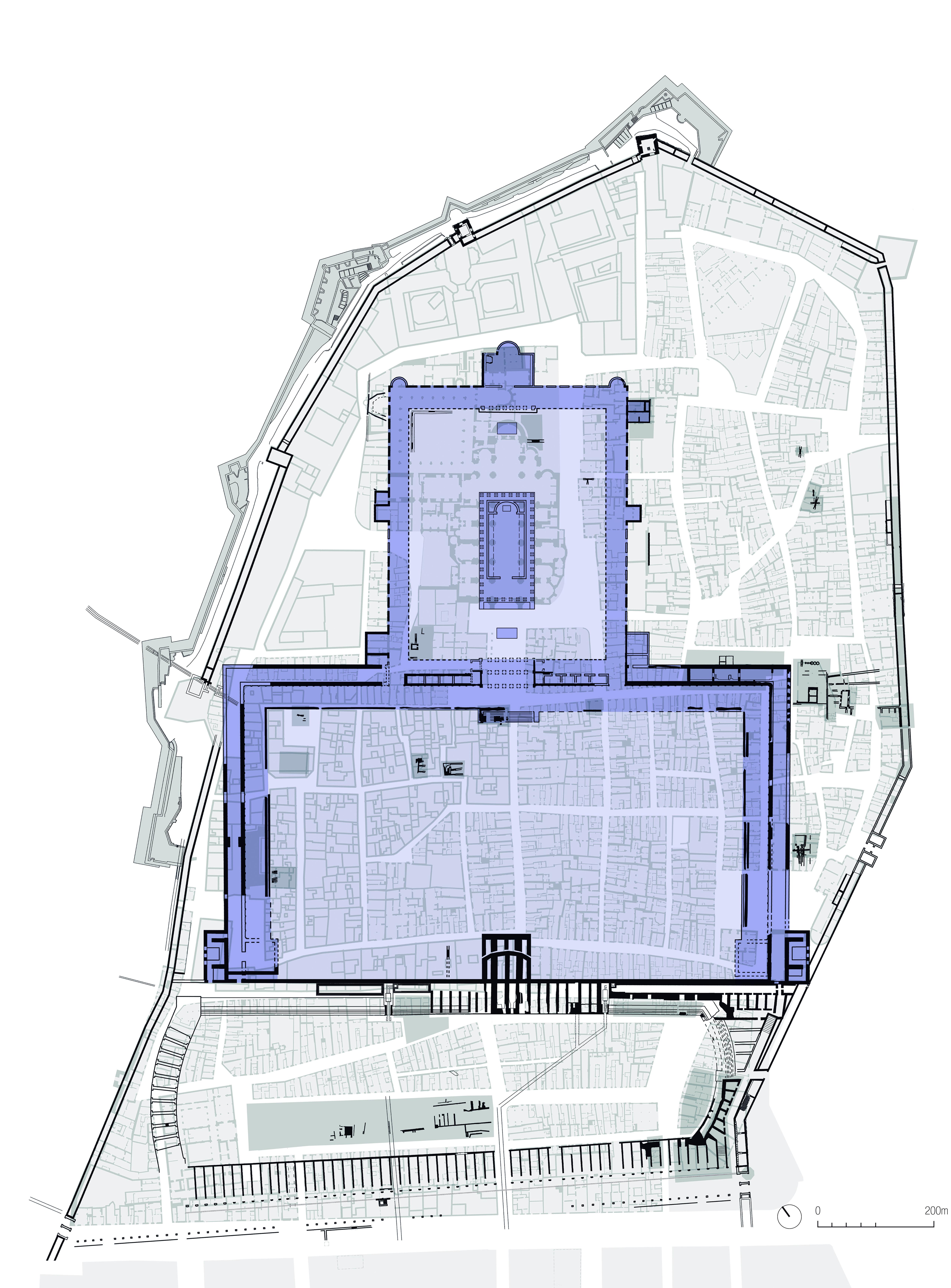 Plànol que indica, damunt de la Part Alta actual, l'espai que ocupava el temple d'August (primera terrassa) i la Plaça de Representació (segona terrasa). A sota es pot veure també el circ (Institut Cartrogràfic de Catalunya).