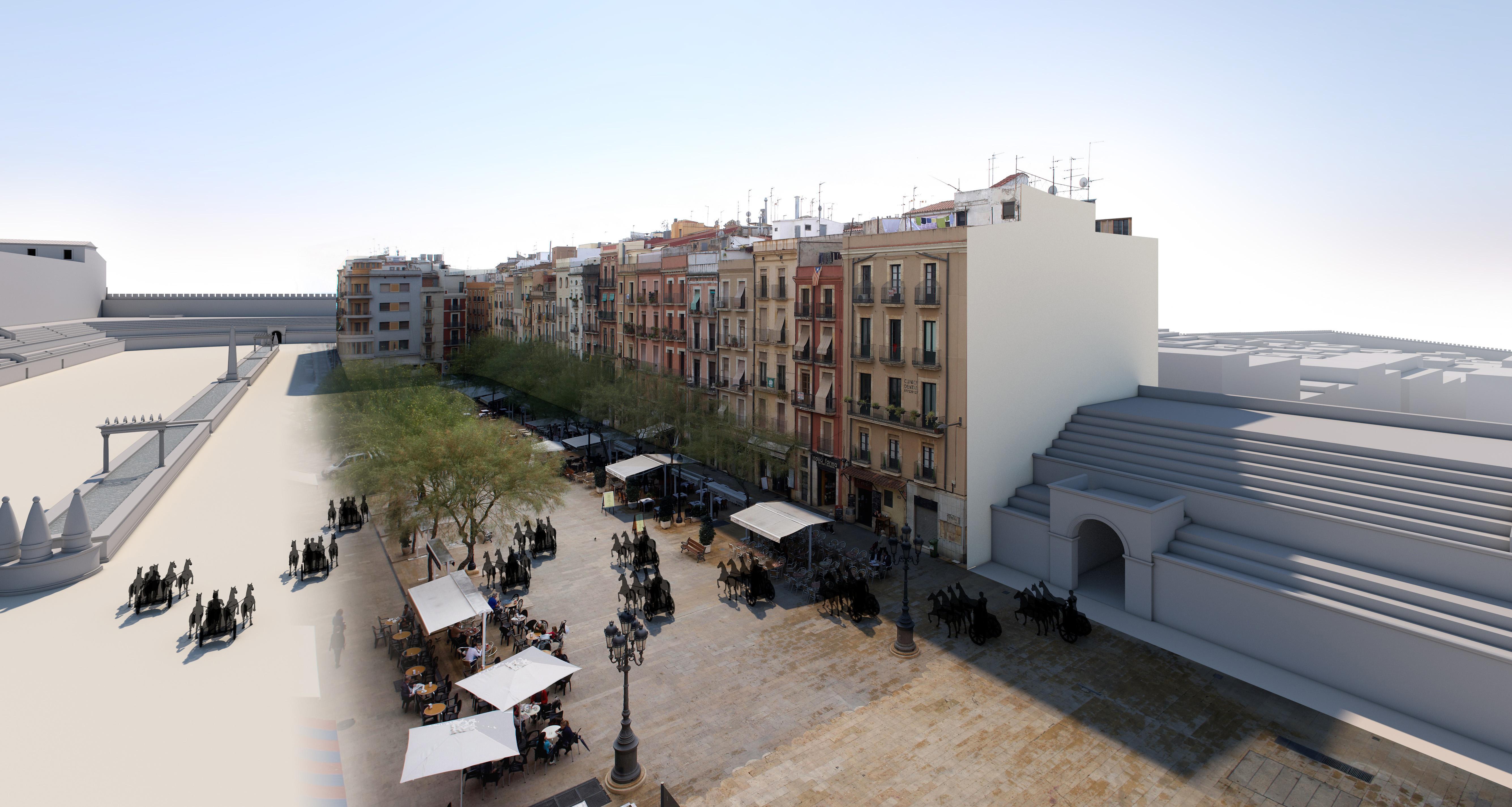 Reconstrucció virtual de les restes del circ i d'una cursa de carros al damunt de l'actual Plaça de la Font de Tarragona (Fotografia: Pepo Segura. Restitució i fotomuntatge: Ferran Gris / SETOPANT)