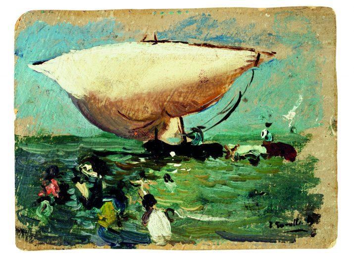 """""""Entrant la barca"""". Oli sobre cartró, 5 x 11,3 cm Museo Sorolla © Museo Sorolla"""