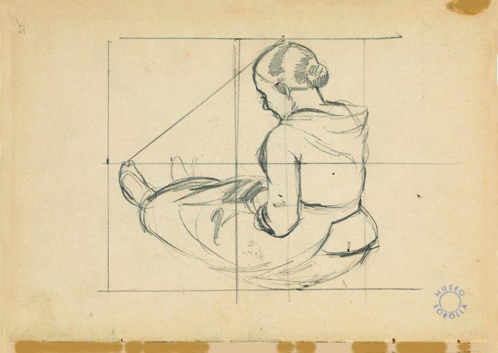 """Estudi compositiu per a """"El pillet de la platja"""" 1891 Llapis de granit sobre paper 13,5 x 19,4 cm Museu Sorolla © Museu Sorolla"""
