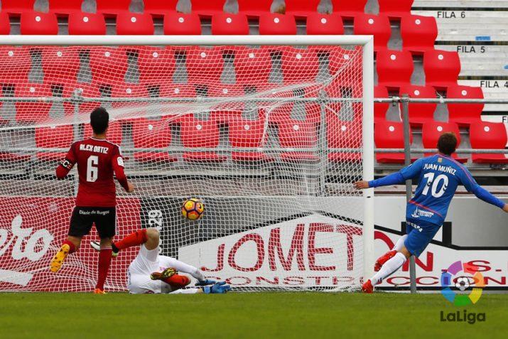 Muñiz marcava el primer, únic i suficient gol del Nàstic. Foto: LaLiga