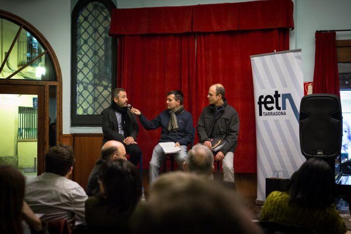 Xavier Molina, a l'esquerra, i Oriol Vernet, a la dreta, van parlar de formació professional i empresa. Foto: DAVID OLIETE